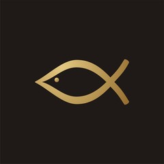 Christian fish icon golden color on a black background