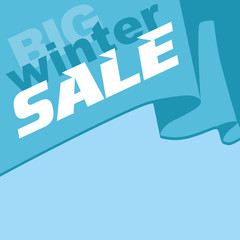 Big winter sale. The inscription on the flag.