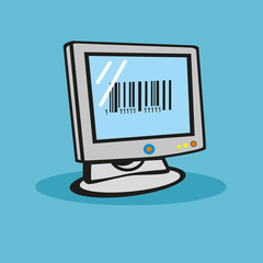 The barcode on the computer monitor. Vector.