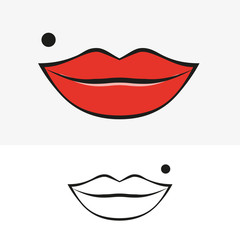 Lips and birthmark. Vector illustration.