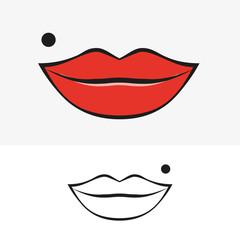 Lips and birthmark. Vector illustration.