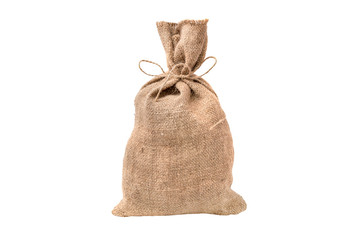 Closed burlap sack isolated on white