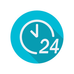 24 hours a day icon or sign isolated on white background. Round the clock support symbol with shadow. Flat design. Vector illustration.