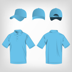 Sport baby blue polo shirt and baseball cap isolated set vector
