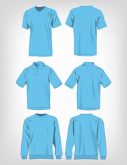 Sport baby blue t-shirt, sweater and polo shirt isolated set vector