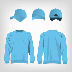 Sport baby blue sweater and baseball cap isolated set vector