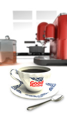 A white coffee cup full of black coffee on kitchen background, striped Thailand texture and good morning word on a cup.