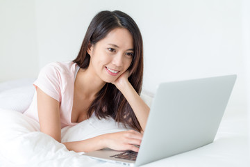 Woman working with laptop computer