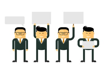 Chinese businessmen are holding signs. Various informational messages.Team work concept. Conceptual image of a businessman character.Cartoon flat vector illustration. Objects isolated on a background.