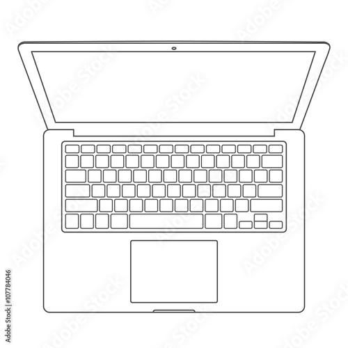 Top view of blank laptop computer with keyboard template - mono line ...