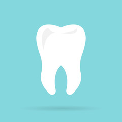 Tooth icon with long shadow. Flat design style.