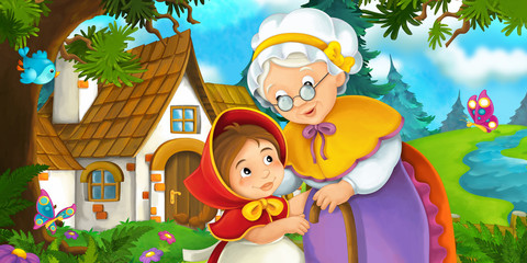 Cartoon scene on a granddaughter and her grandmother standing by the old house near the forest - illustration for children