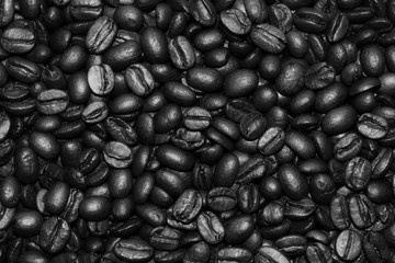 coffee beans black and white background and texture