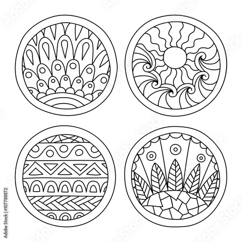 Doodles Filled Circles Set Hand Drawn Isolated Graphic Elements Boho And Ethnic Style Mandala
