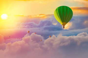 Foto op Plexiglas Ballon colorful hot air balloons with cloudy sunrise background