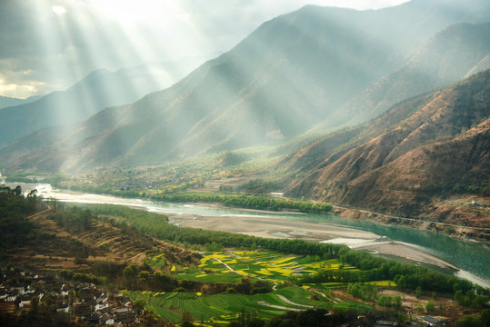 A famous bend of yangtze river in Yunnan Province, China, first