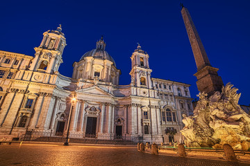 Fototapete - Rome, Italy: Piazza Navona, Sant'Agnese in Agone Church