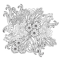 Hand drawn patterned floral frame in doodle style.