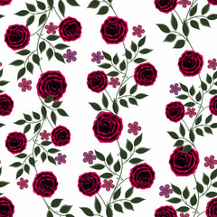 Seamless flowers from red roses pattern on white background