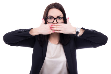 censor - stressed young business woman covering her mouth isolat