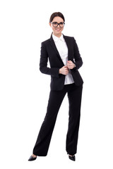 full length portrait of young business woman isolated on white