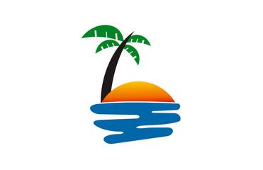 sunset beach icon