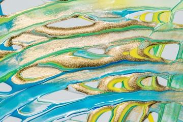 Malerei/ Gemälde aus Streifen in Gold, Gelb, Grün und Blau, Gouache- Farben, als Hintergrund