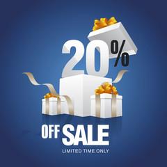 Sale 20 percent off card blue background
