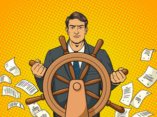 Businessman and ship steering wheel pop art vector