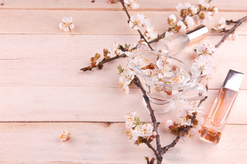 Two bottles of perfume surrounded by apricot blossom