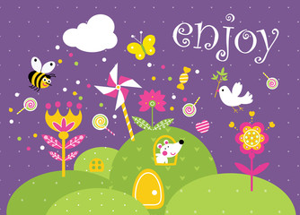 Enjoy. Good mood postcard. Funny cartoon landscape with mouse, dove and bee. Vector