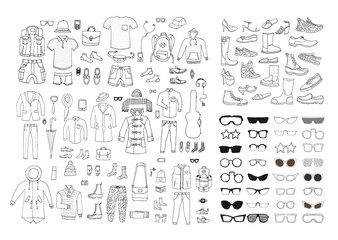 Big hand drawn collection of trendy clothes, shoes and accessories. Look Book. Isolated.