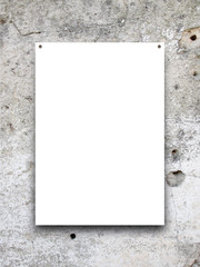Close-up of one nailed blank frame on grey weathered wall background