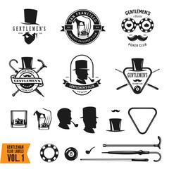 Collection of vintage gentleman emblems, labels, badges and design elements. Vector illustration.