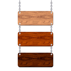 Blank wooden signboard set hanging on chain. Vector illustration