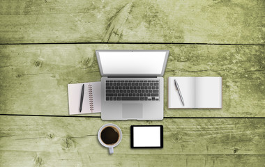 Office top view business image for mock up. Wooden background