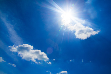 sun at clear blue sky with copy space