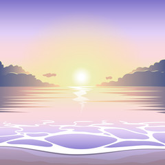 Sunset on the beach with surf, waves and sun, vector summer background, summer illustration, summer beach, summer poster