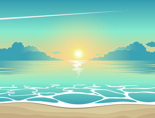 Summer background, vector illustration of the evening beach at sunset with waves, clouds and a plane flying in the sky, seaside view poster