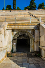 panathenaic sport stadium tunnel for athlete in athens greece