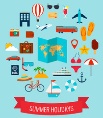 Summer flat icons set.  Summer holiday. Vector