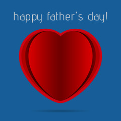 greeting card - red heart on a blue background