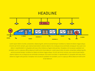Subway (underground railway) station linear vector illustration. Subway (underground railway) station (train, public, tube, railroad, platform) creative graphic concept.