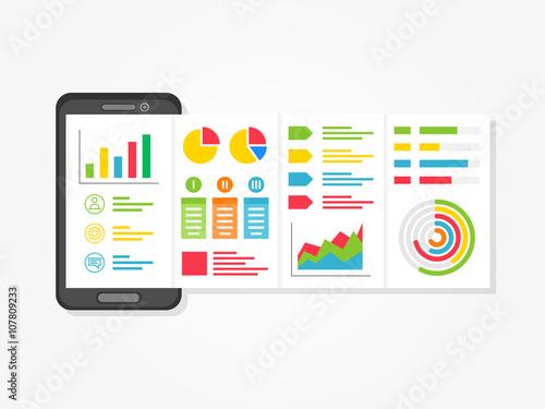 mobile presentation vector illustration. presentation app with, Presentation templates