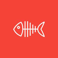 Fish skeleton line icon.