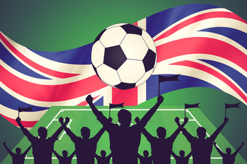silhouettes of Soccer fans and flag of United Kingdom  . premier