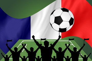 silhouettes of Soccer fans and flag of france