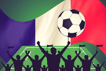 silhouettes of Soccer fans and flag of france vintage color