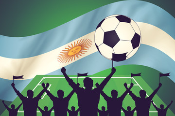 silhouettes of Soccer fans and flag of argentina vintage color