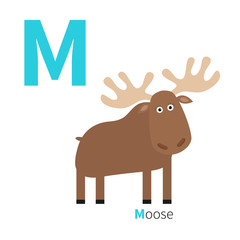 Letter M Moose Zoo alphabet. English abc with animals Education cards for kids Isolated White background Flat design